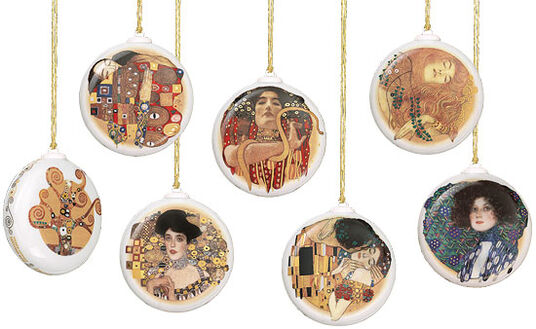 Gustav Klimt: Set of 6 Christmas charms, porcelain with gold plating