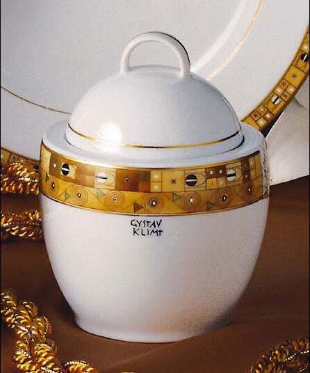 """Gustav Klimt: Zuckerdose """"Stoclet-Fries"""", Porzellan mit Golddekor"""