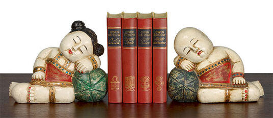 "Sculptures/Book supports ""Hand-carved Chinese Children Pair"""