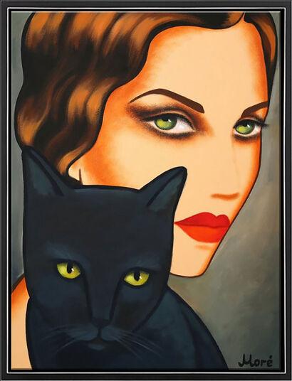 "Ekaterina Moré: Bild ""Black Cat"" (Original / Unikat), gerahmt"