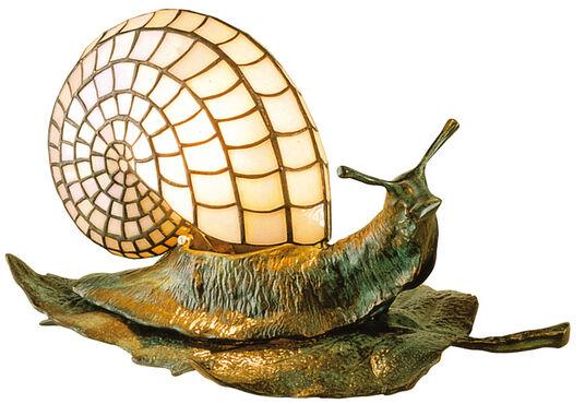 """Louis C. Tiffany: """"Schneckentischleuchte auf einem Blatt"""""""