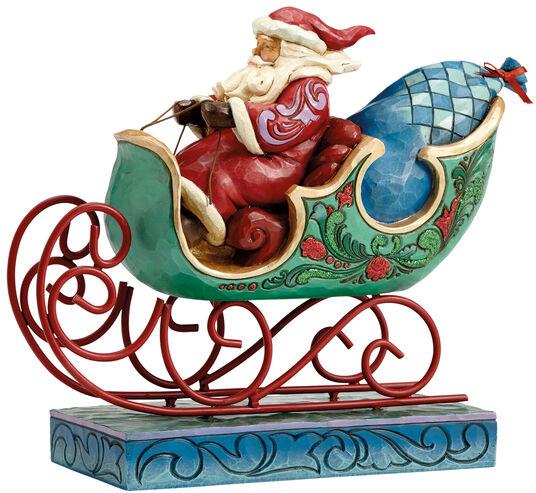 "Jim Shore: Weihnachtsschlitten ""Die Bescherung"", Kunstguss"