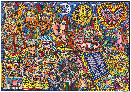 "James Rizzi: Teppich ""Give Peace a Chance"" (230 x 160 cm)"