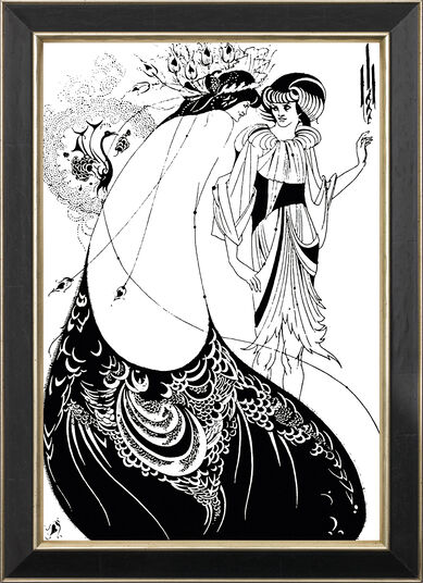 "Aubrey Beardsley: Bild ""The Peacock Skirt"" (Das Pfauenkleid, 1894), gerahmt"