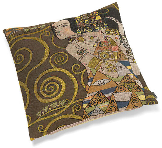 "Gustav Klimt: Cushion cover ""Expectation"", Brown edition"