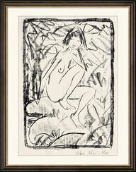 """Bild """"Sitzende von Blattwerk umgeben (helle Fassung)"""" (1923)"""