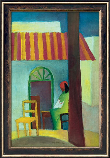"August Macke: Painting ""Turkish Café I"" (1914) in frame"