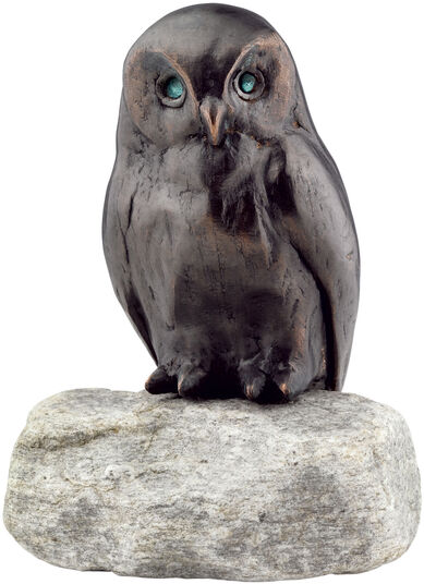 "Garden sculpture ""Owl"", copper on stone"