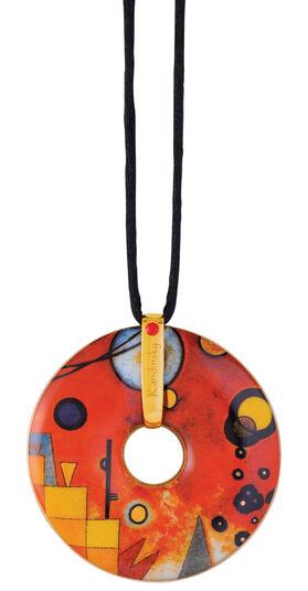 "Wassily Kandinsky: Porzellan-Anhänger ""Schweres Rot"" mit Stoffband"