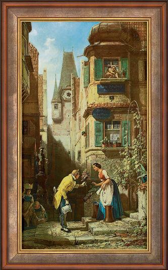 """Carl Spitzweg: Bild """"Der ewige Hochzeiter"""" (1855-58), gerahmt"""