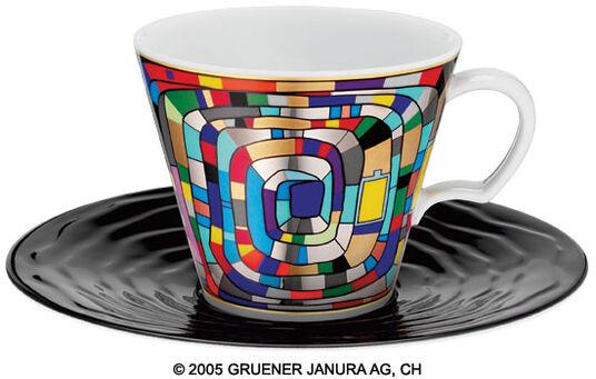 """Friedensreich Hundertwasser: Tasse nach (897) """"Silver Spiral"""""""