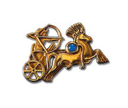 "Ancient Egyptian zodiac sign of ""Sagittarius"" (23.11.-21.12.) pin brooch with a lucky stone."