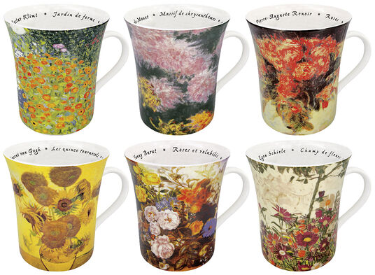 """6-teiliges Becherset """"Blumen in der Kunst"""""""