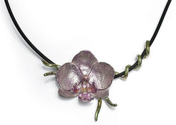 """Necklace """"Orchid"""", 925 Sterling Silver"""