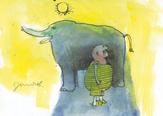 """Janosch: Bild """"Im Schatten des Elefanten"""" (2015) (Unikat)"""
