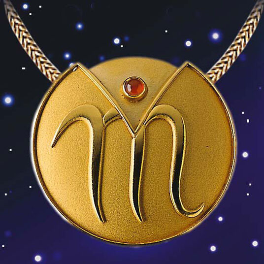 "Zodiac Necklace ""Scorpio"" (24.10-22.11) With Lucky Stone Carnelian"
