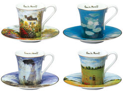 Set of 4 espresso cups with artist designs.