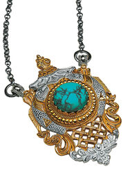 Nepal turquoise pendant with chain, 925 sterling silver partly gold-plated
