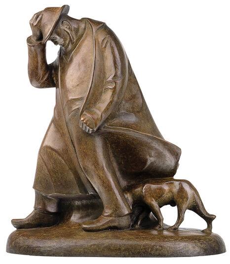 """Ernst Barlach: Skulptur """"Schäfer im Sturm"""" (1908), Reduktion in Bronze"""
