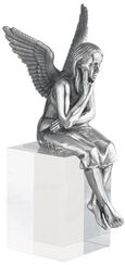"Skulptur ""Schutzengel"", Version versilbert inkl. Sockel"