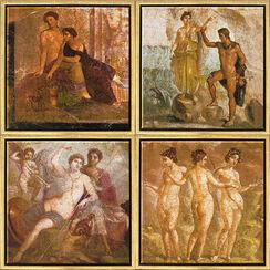 Wandmalerei aus Pompeji: 4 Bilder im Set