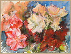 "Bild ""Amaryllen Weiß-Rot-Rosa"" (2003) (Unikat)"