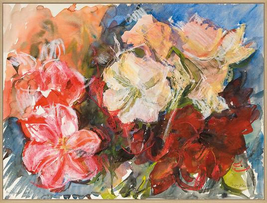 """Inge Karsch: Bild """"Amaryllen Weiß-Rot-Rosa"""" (2003) (Unikat)"""