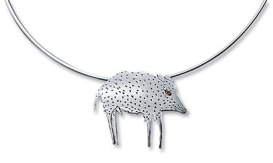 Paul Wunderlich: Boar-necklace / brooch, 925 sterling silver