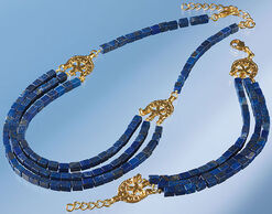 Jewellery set with lapis-cuboids