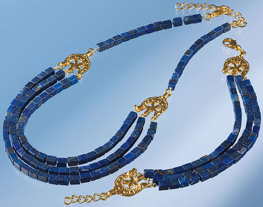 Petra Waszak: Jewellery set with lapis-cuboids