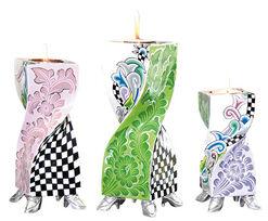 "3 Kerzenleuchter ""Ronda"" im Set, handbemalt"