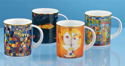 Four coffee mugs with artistic motives in a set