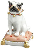 "Porcelain Figurine ""Mops on pillow"",  white version"