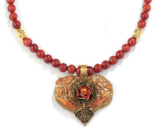 "Petra Waszak: Necklace ""Heart of Roses"" with Coral Necklace"