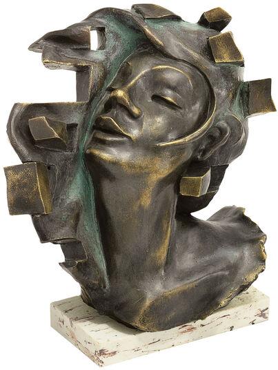 """Andreas Gomez: Skulptur """"Le Souffle"""", Kunstmarmor bronziert"""