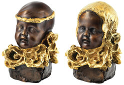 "2 Sculptures ""Boy with a Golden Headband"" + ""Girl with a Golden Hat"" in Set, Bronze Partially Gilded"