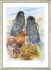 """Bild """"Pilze und Schuhe"""", gerahmt"""