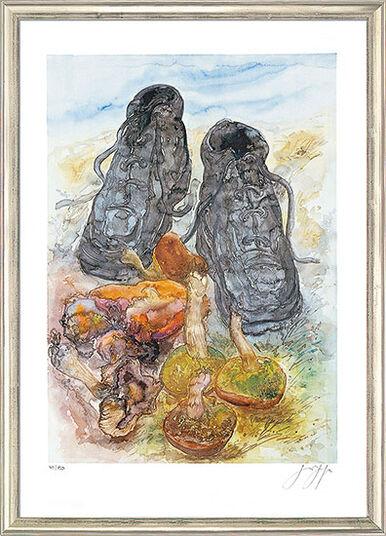 "Günter Grass: Bild ""Pilze und Schuhe"", gerahmt"