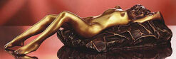 """Sculpture """"Lying Woman with Pillow"""" (2005), bronze"""