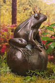 "Garden Sculpture ""Frog King on ball"", copper with brass"