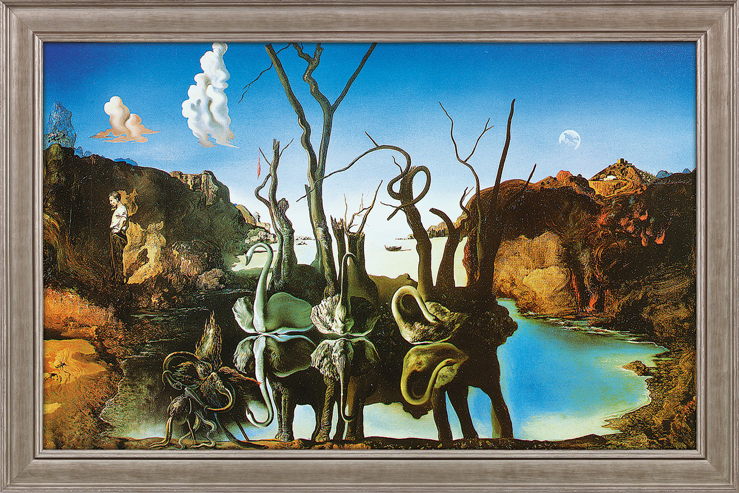 "Picture ""Swans Reflecting Elephants"" (1937) in gallery framing"