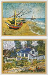 """2 Bilder """"Fischerboote am Strand von Saintes-Maries"""" (1888) und """"Häuser in Auvers"""" (1890) im Set"""