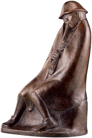 """Ernst Barlach: Skulptur """"Der Flötenbläser"""" (1936), Reduktion in Bronze"""