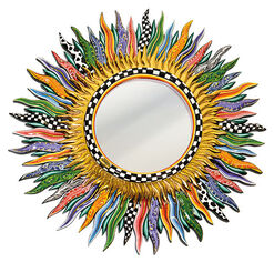 """Wall Mirror """"Flames"""", Painted by Hand"""