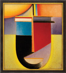 "Picture ""Abstract Head Sun-colour-Life"" (1926) in museum framing"