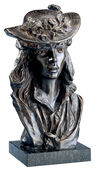 """Young Woman in a Floral Hat"", bronze"