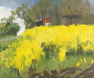 """Bild """"Rapsfeld bei Falshöft (Je dunkler der Himmel)"""" (2009) (Original / Unikat), ungerahmt"""