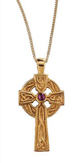 Celtic Cross, silver, gold-plated