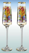 "2 champagne cups ""Lotus"" in a set - after Louis C. Tiffany"