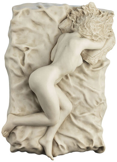 "Peter Hohberger: Sculpture ""Lying Nude On Pillow"", artificial marble version"
